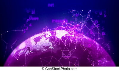 World global network over the Earth