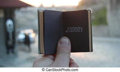 journey, adventure or holiday motivation concept - Adventure...