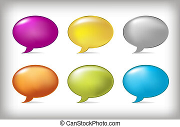 Speech Bubbles - 6 Speech Bubbles, Isolated On Grey...