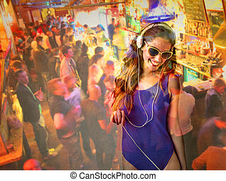 Woman listening to music in imaginary party