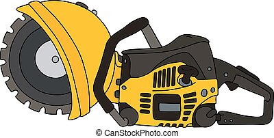 Yellow circular saw - Hand drawing of a yellow rescue...