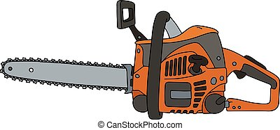 Classic orange chainsaw - Hand drawing of an orange chainsaw