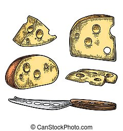 Pieces of Cheese and knife. Half round head and triangle of...