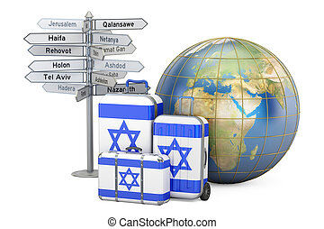 Israel travel concept. Suitcases with Israeli flag, signpost...