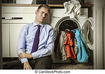Businessman with dirty clothes - Bored businessman with...