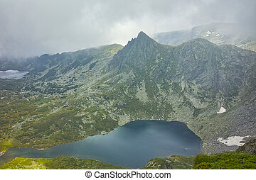 Amazing panorama of The Twin lake, The Seven Rila Lakes,...