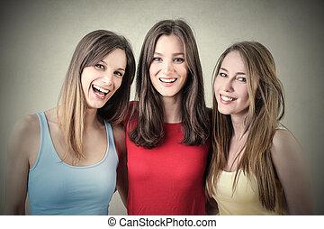 3, sonriente, mujeres