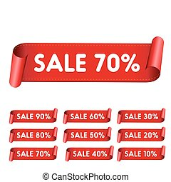 Sale red ribbon set vector