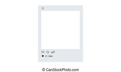 animation - modern photo frame with heart like icon on white...