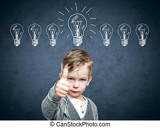 Menino, lâmpada, idéia, cima, esboço, crianças,  came