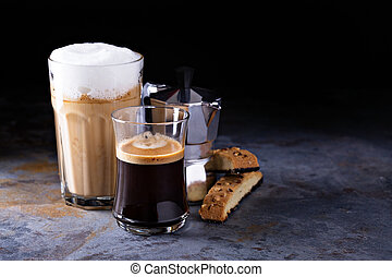 Coffee latte, black espresso and viennese coffee with...