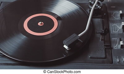 Time-lapse of a record player playing vinyl. Retro Vinyl...