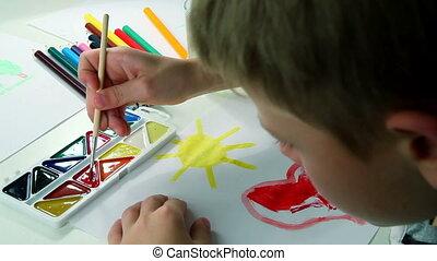Little Boy Draws Paints