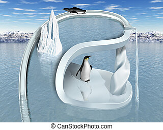 Surreal Penguin Wonderland - Illustration of an impossible...