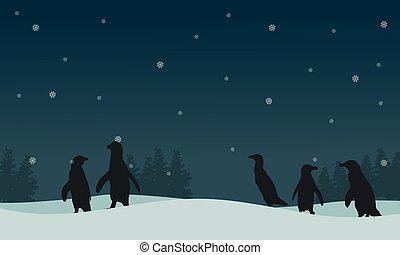 Landscape penguin on hill silhouettes