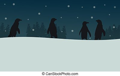 Penguin at night scenery silhouettes