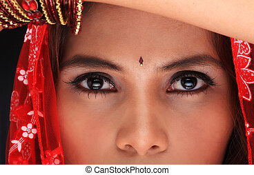 Close-up of an ethnic woman - Close-up of a young woman's...