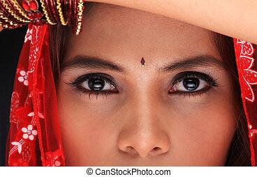 primer plano, étnico, mujer