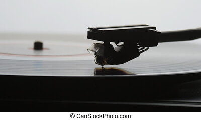 Time-lapse of Old vintage gramophone playing lp vinyl record...