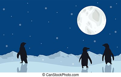 Penguin scenery with moon silhouettes