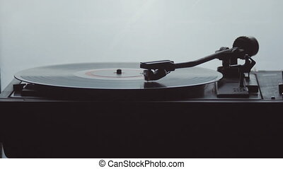 Time-lapse of an old vintage gramophone playing lp vinyl...