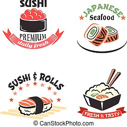 Vector icons set for sushi or seafood restaurant - Sushi bar...