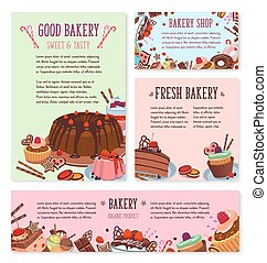 Vector desserts and cakes for bakery menu template - Bakery...