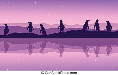 Reeflection penguin on river silhouette landscape