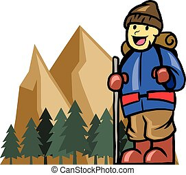 Mount Climber Boy - Vector illustration of mount climber boy