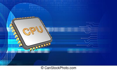3d cpu - abstract 3d digital background with cpu and head...