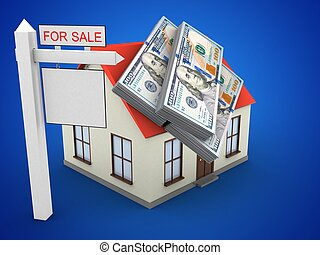 3d money - 3d illustration of generic house over blue...