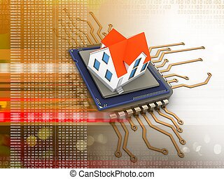 3d electronic board - 3d illustration of electronic board...