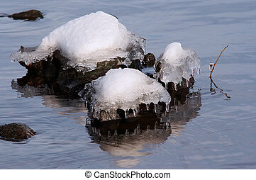 thawing - Shot of the surface of water with stones