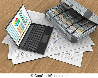 3d personal computer - 3d illustration of diagram papers and...