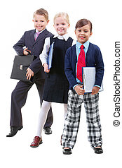 Partnership - Portrait of three children in smart clothes...