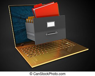 3d golden computer and archive