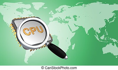 3d cpu - abstract 3d gree background with cpu magnify glass...
