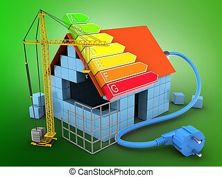 3d power ranks - 3d illustration of block house over green...