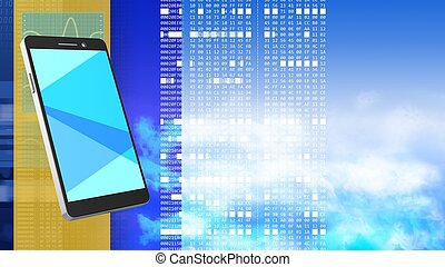 3d blank - abstract 3d clouds background with phone and...