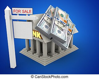 3d money - 3d illustration of Bank over blue background with...
