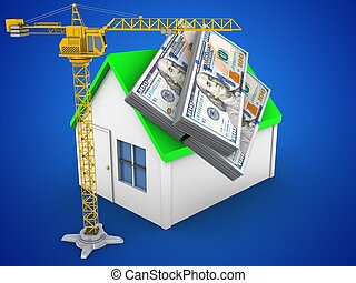 3d money - 3d illustration of simple house over blue...
