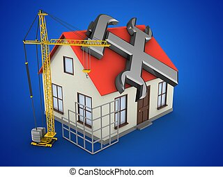 3d construction site - 3d illustration of generic house over...
