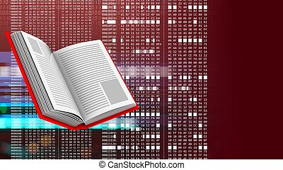 3d opened book - abstract 3d red background with opened book...