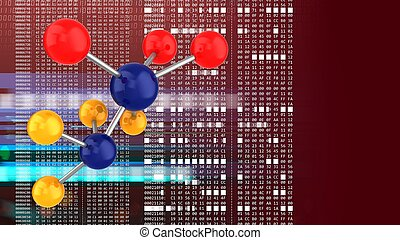3d molecule - abstract 3d red background with molecule and...