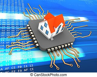 3d processor - 3d illustration of processor over code...