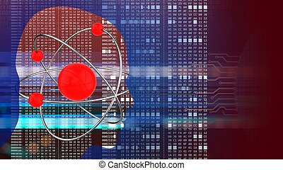 3d atom - abstract 3d red background with atom head...