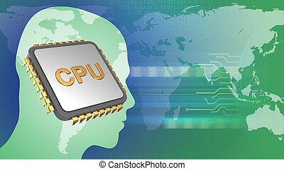 3d cpu - abstract 3d gree background with cpu head...