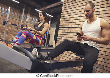 Fit couple on the health club