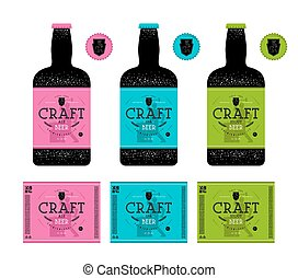 Set of templates label for craft beer. Design with...
