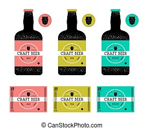 Set of templates label for craft beer. Label with color...
